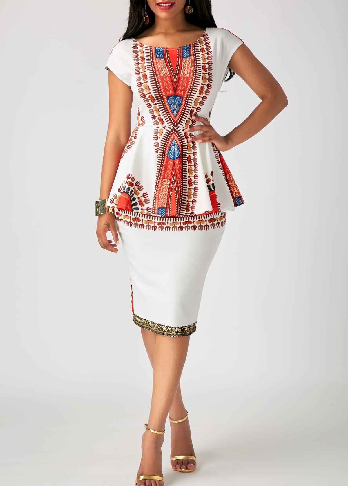 ROTITA Peplum Waist Tribal Print Cap Sleeve Dress