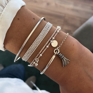 Silver Multi Layer Tassel Bracelet Set