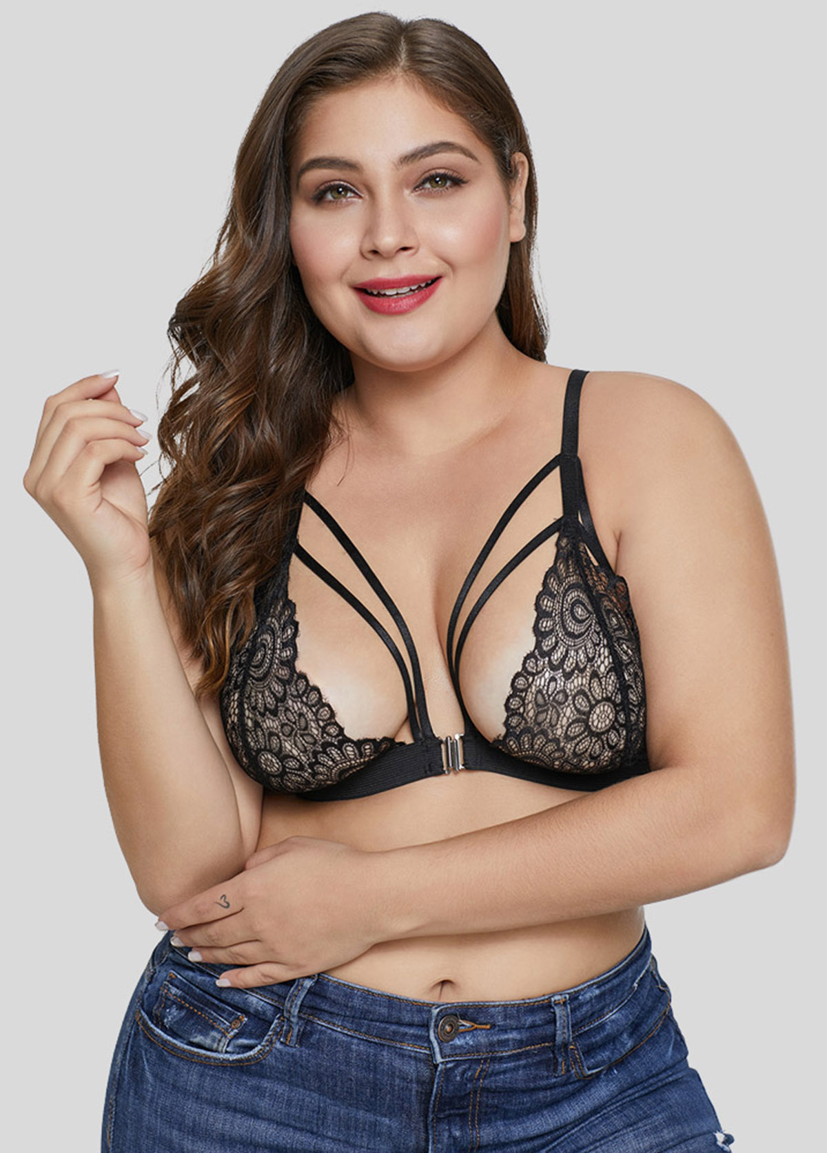 Black Lace Sexy Plus Size Bras