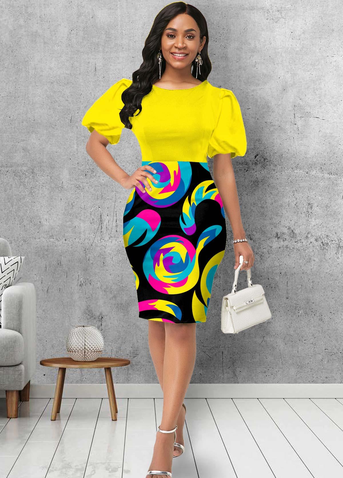 ROTITA Geometric Print Puff Sleeve Round Neck Dress