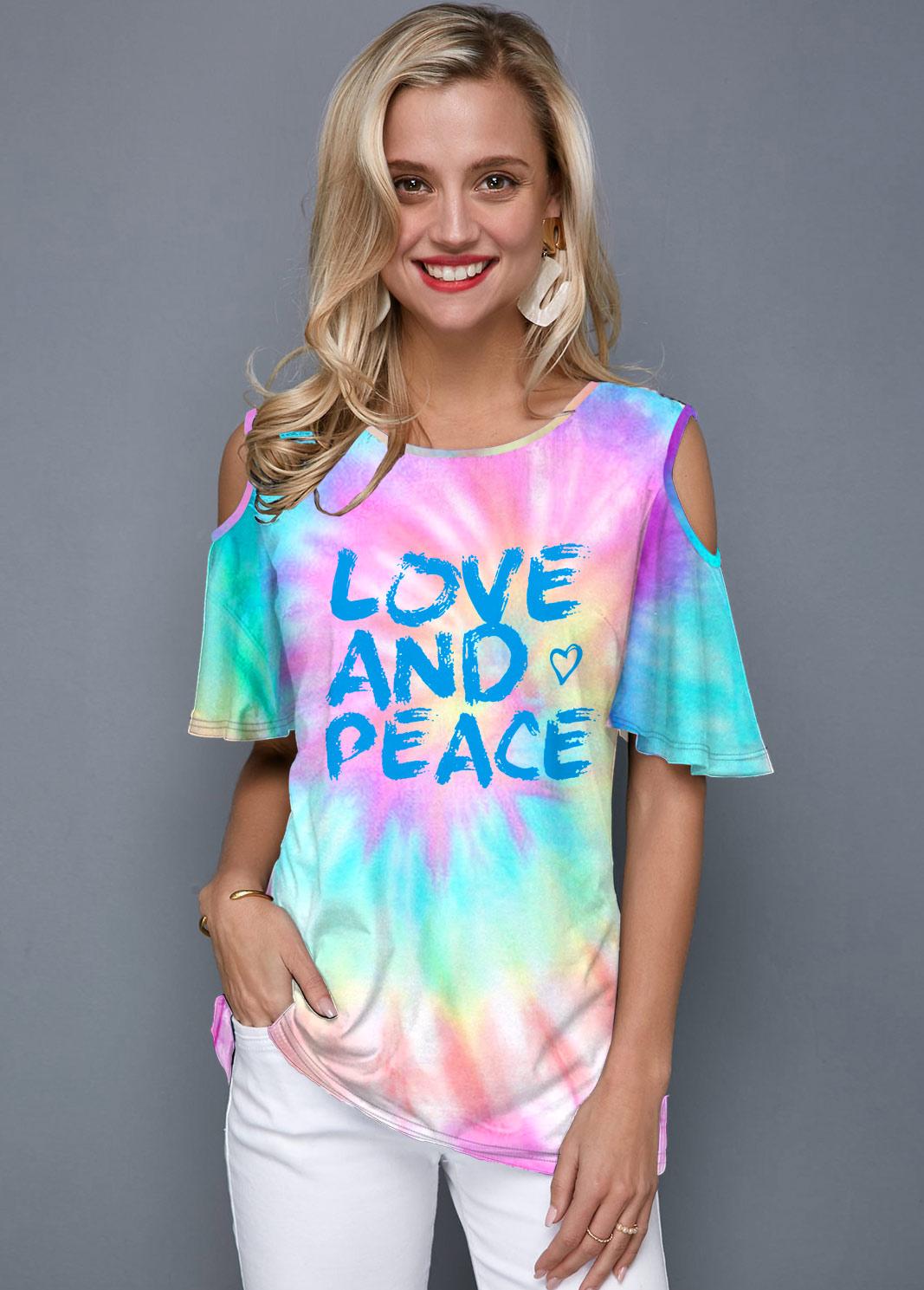 Cold Shoulder Tie Dye Letter Print T Shirt