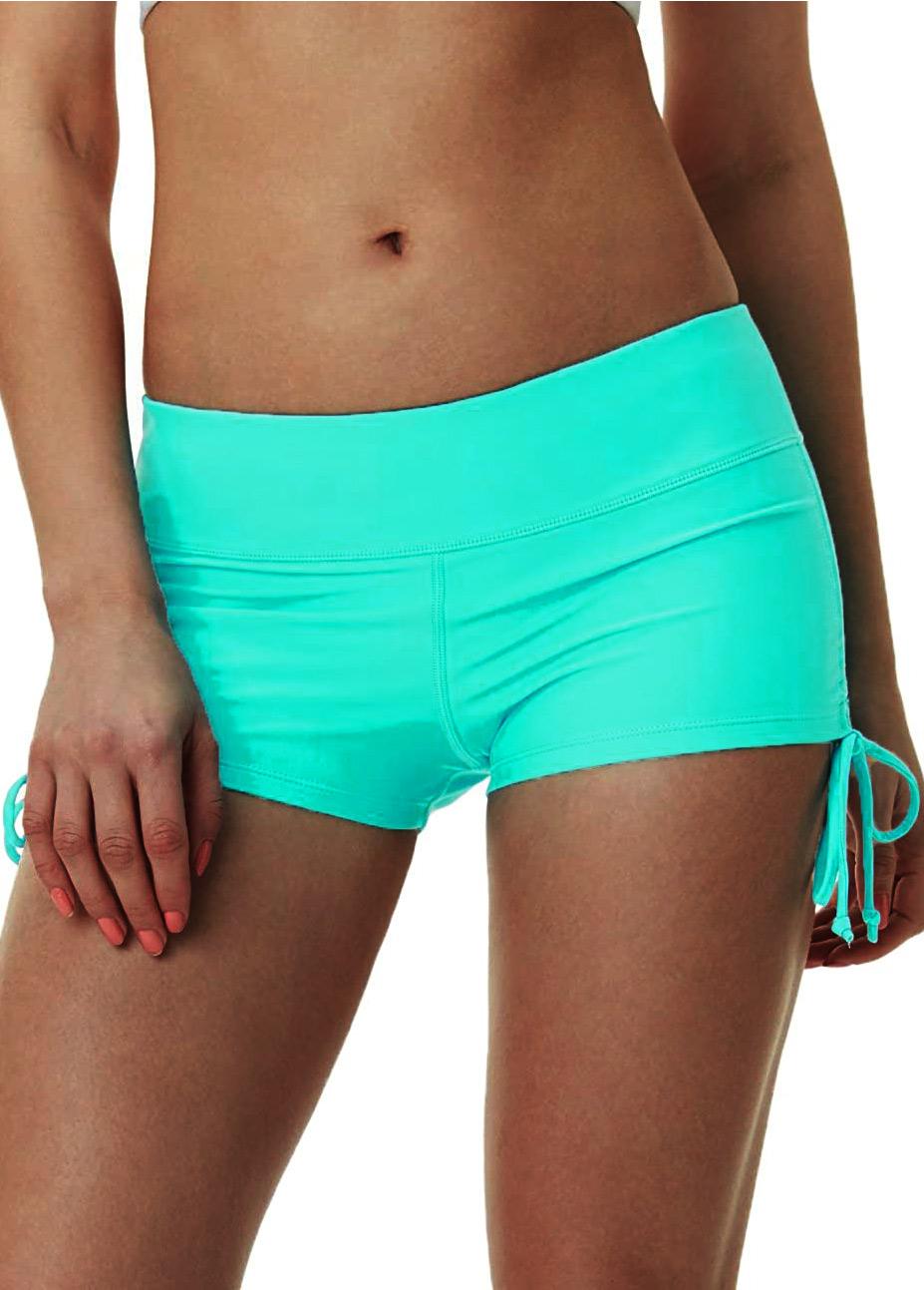 ROTITA Drawstring Side Cyan Mid Waist Swimwear Shorts