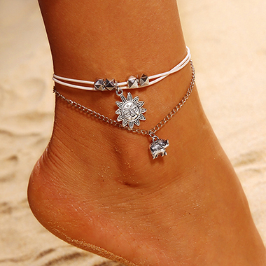 Elephant Design Silver Metal Chain Anklet For Women