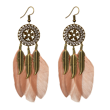 Feather Design Pink Metal Earring Set