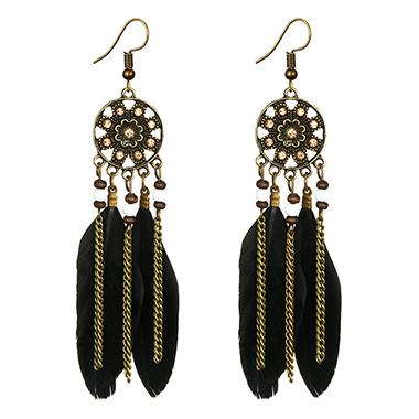 Feather Embellished Beading Tassel Earring Set