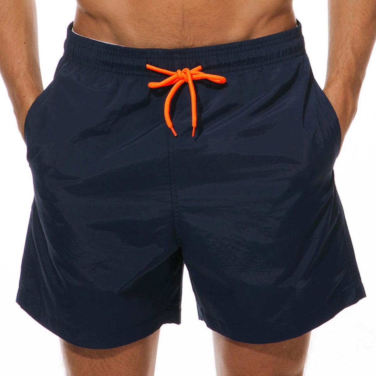 Mesh Liner Quick Dry Drawstring Waist Bermuda Men's Swim Trunks