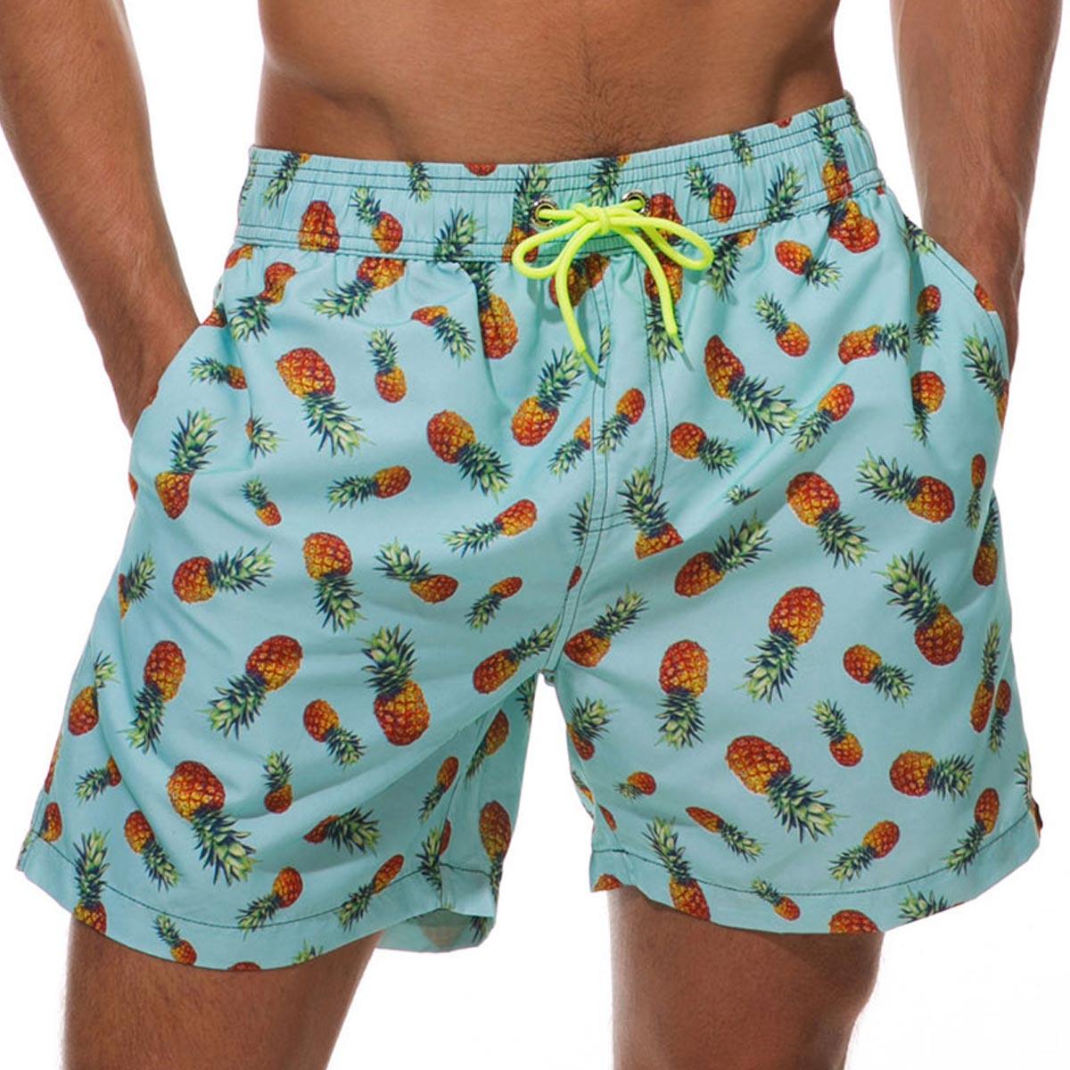 Pineapple Print Quick Dry Mesh Liner Bermuda Men's Swim Trunks