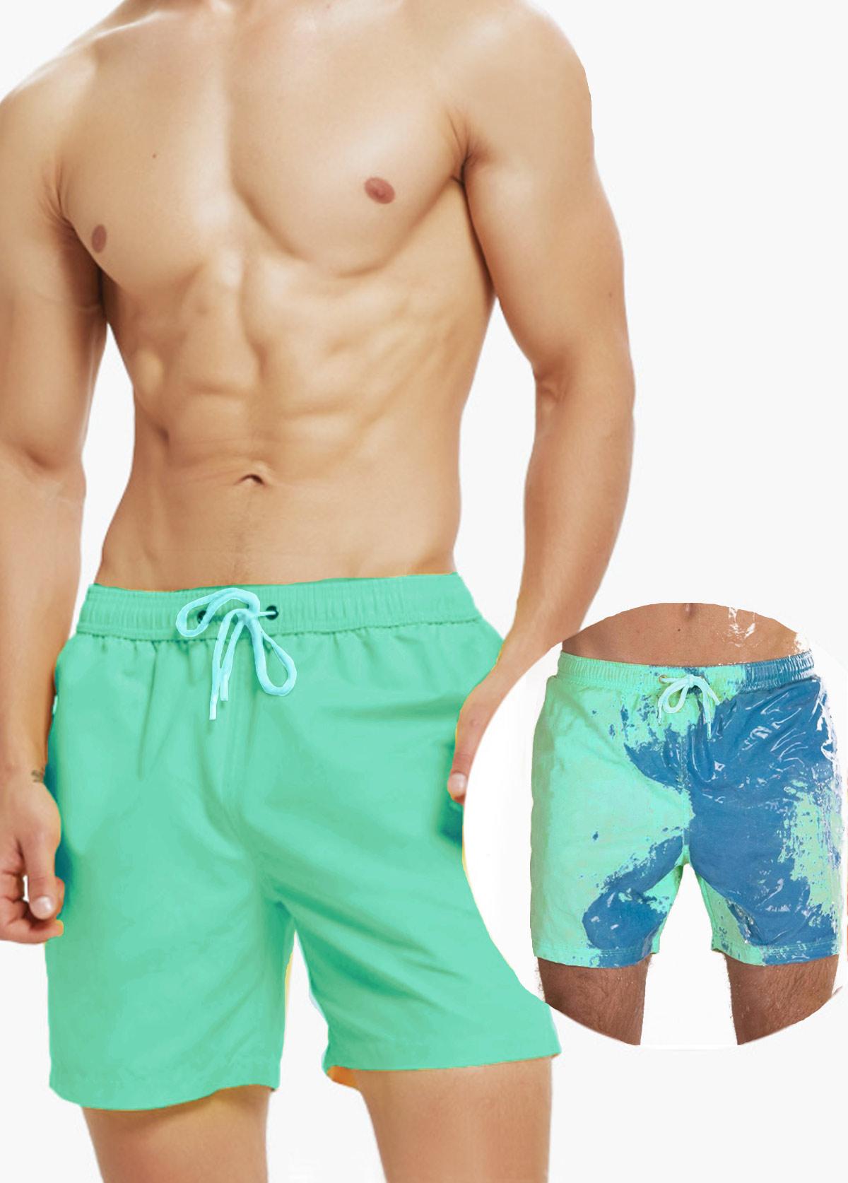 Quick Dry Mesh Liner Printed Bermuda Men's Swim Trunks