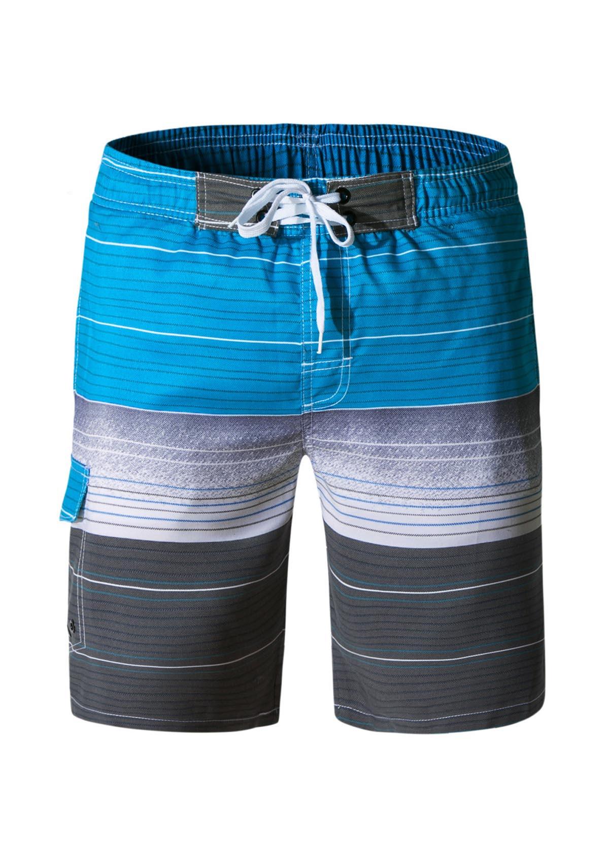 Bermuda Shorts Men's Quick Dry Gradient Stripe Beach Shorts with Mesh Lining