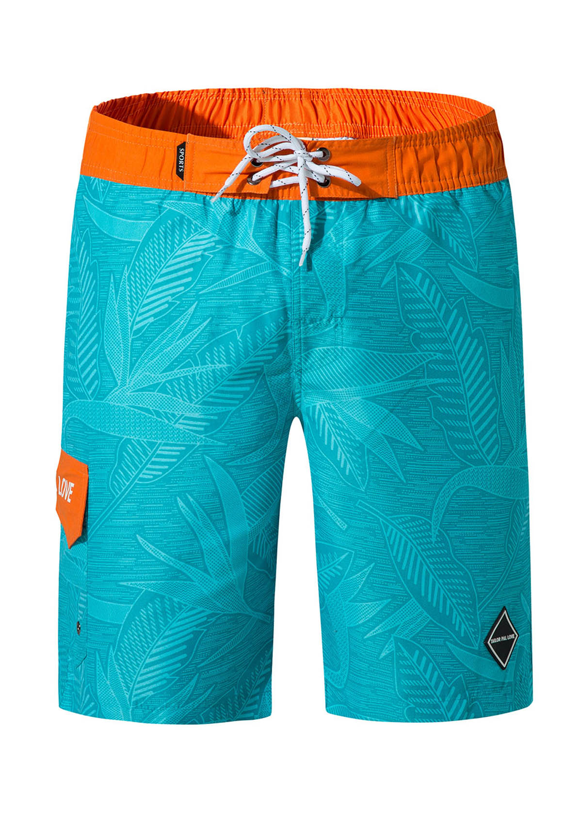 Bermuda Shorts Coconut Tree Print Beach Shorts with Mesh Lining