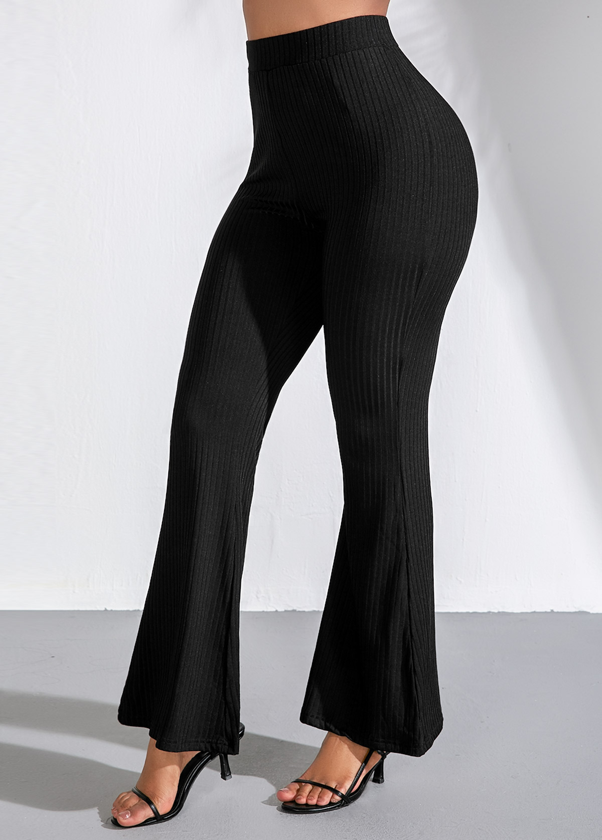 Black High Waist Elastic Flare Pants