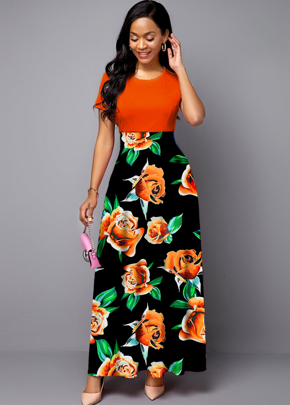 ROTITA Round Neck Floral Print Short Sleeve Maxi Dress