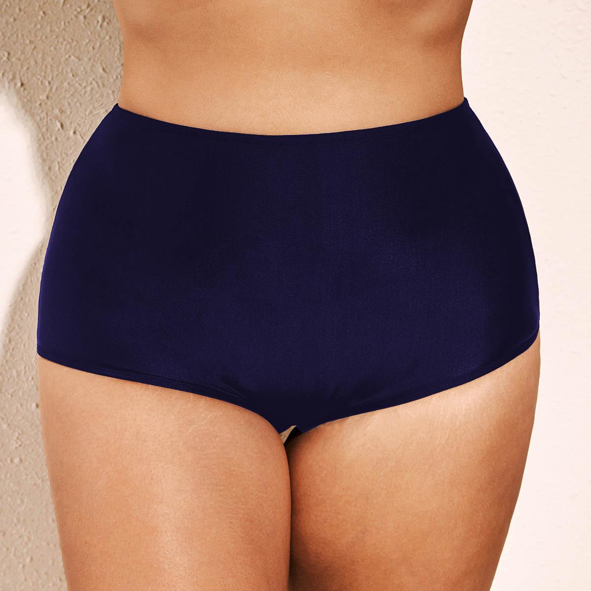 ROTITA Plus Size Navy Blue High Waist Swimwear Panty