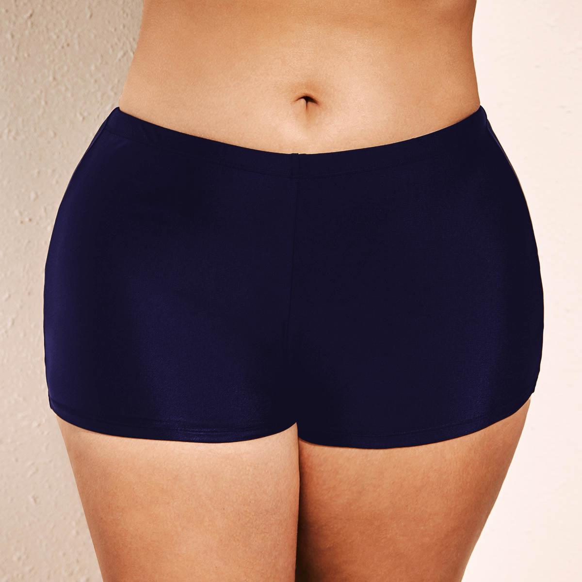 ROTITA Plus Size Navy Blue Mid Waist Swimwear Shorts