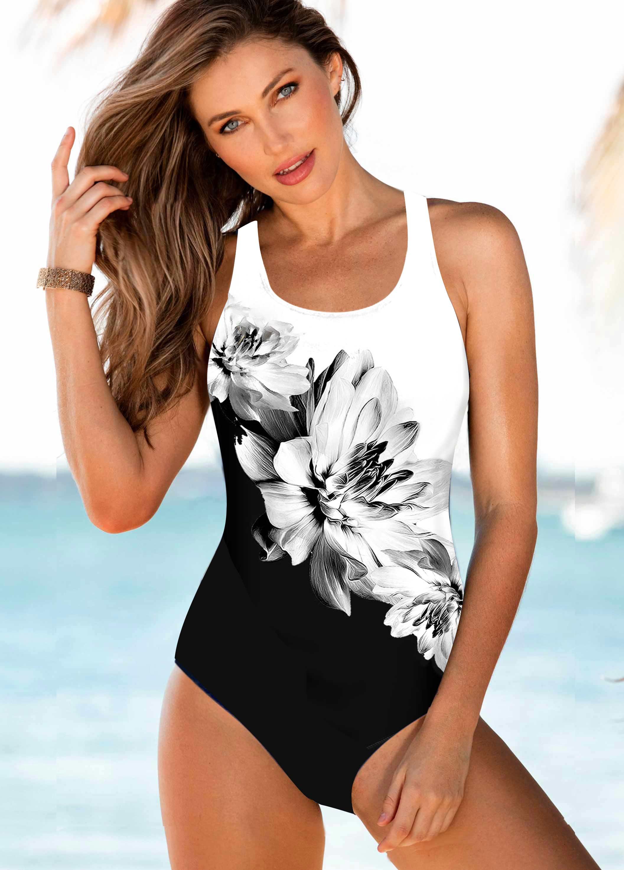 ROTITA Spaghetti Strap Floral Print One Piece Swimwear