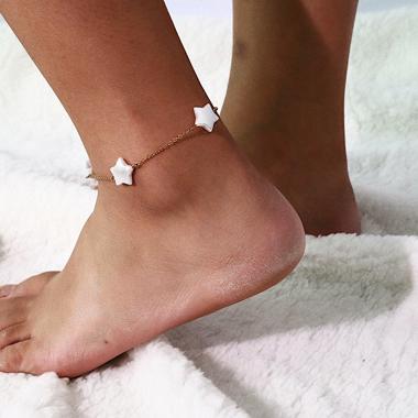 Star Shape Gold Metal Anklet for Women
