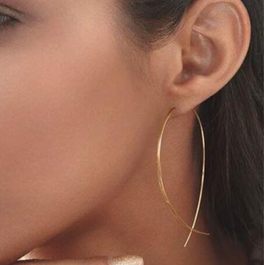 Fish Shape Gold Metal Sinple Earring Set