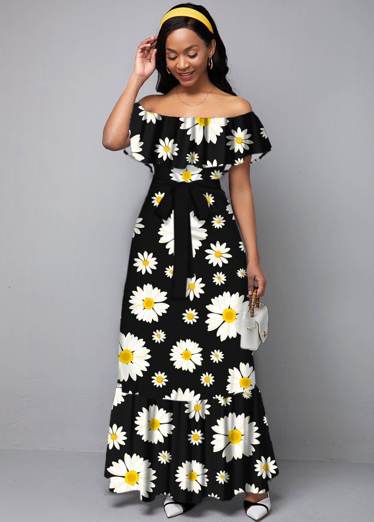 ROTITA Daisy Print Off the Shoulder Ruffle Overlay Dress