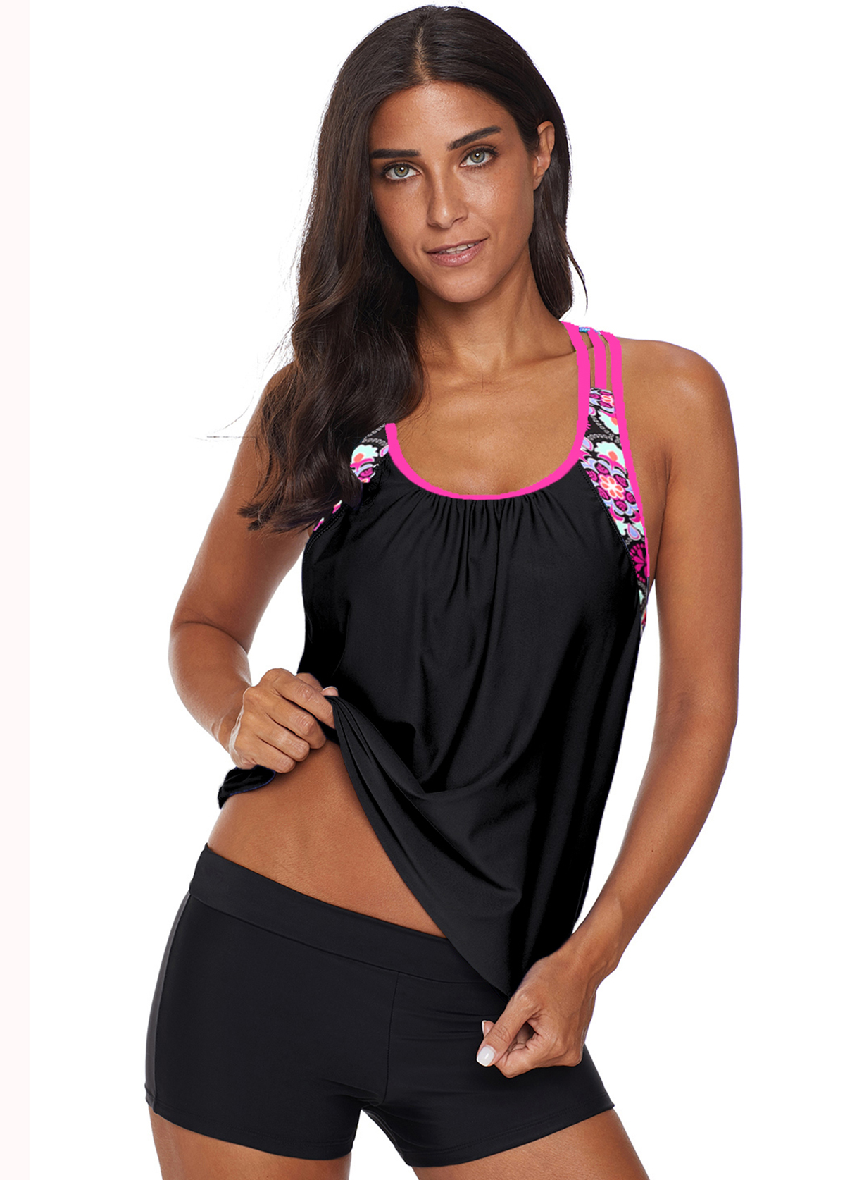 Printed Black Open Back Tankini Set