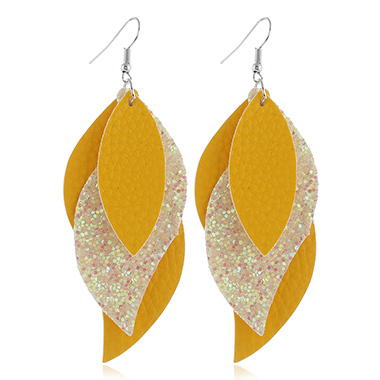 Faux Leather Yellow Leaf Design Earrings