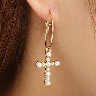 Pearl Pendant Gold Metal Hoop Earring Set