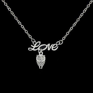 Owl and Letter Shape Silver Metal Necklace