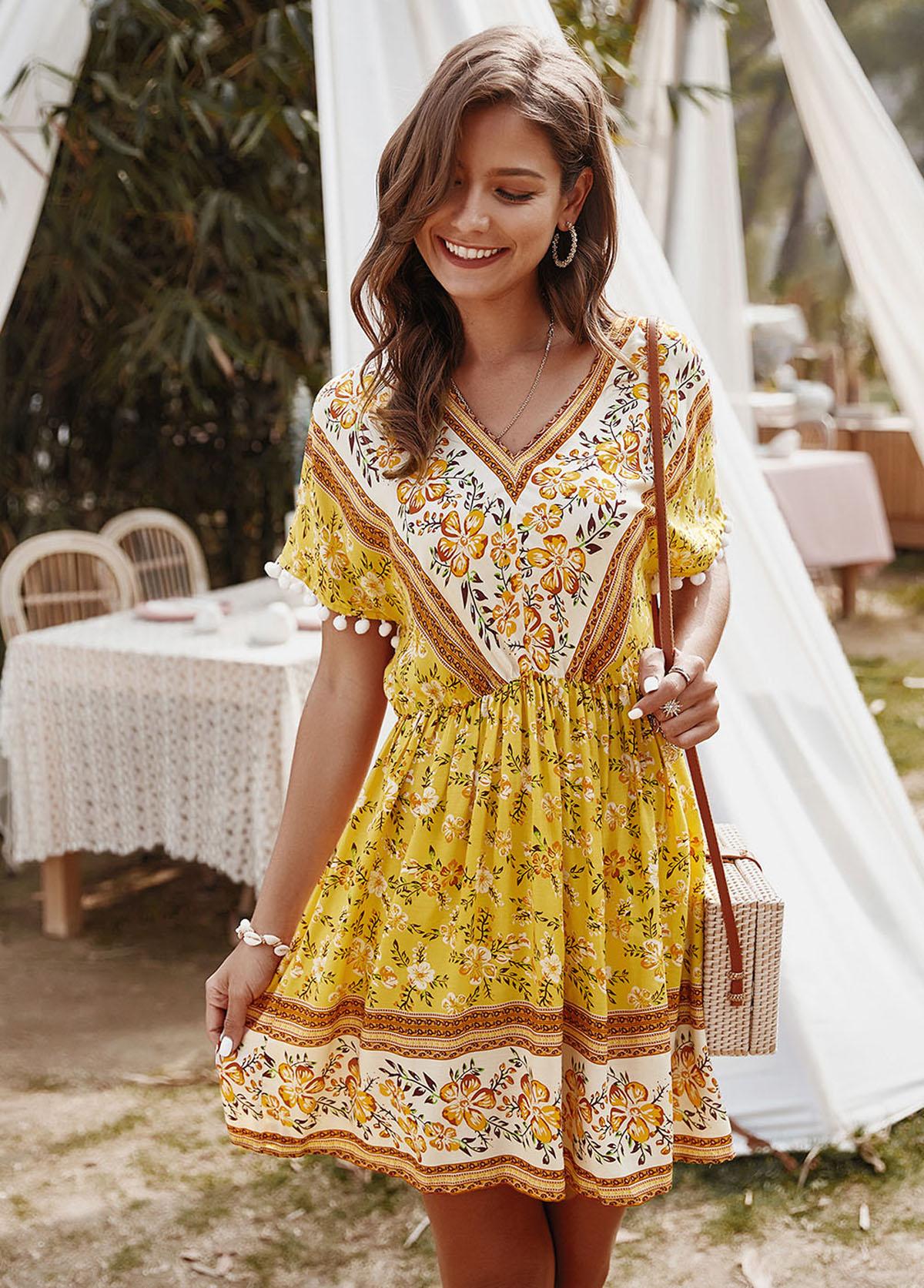 ROTITA Pom Pom Short Sleeve Floral Print Dress