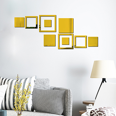 10pcs 65 X 25cm Geometric Pattern Yellow Wall Stickers