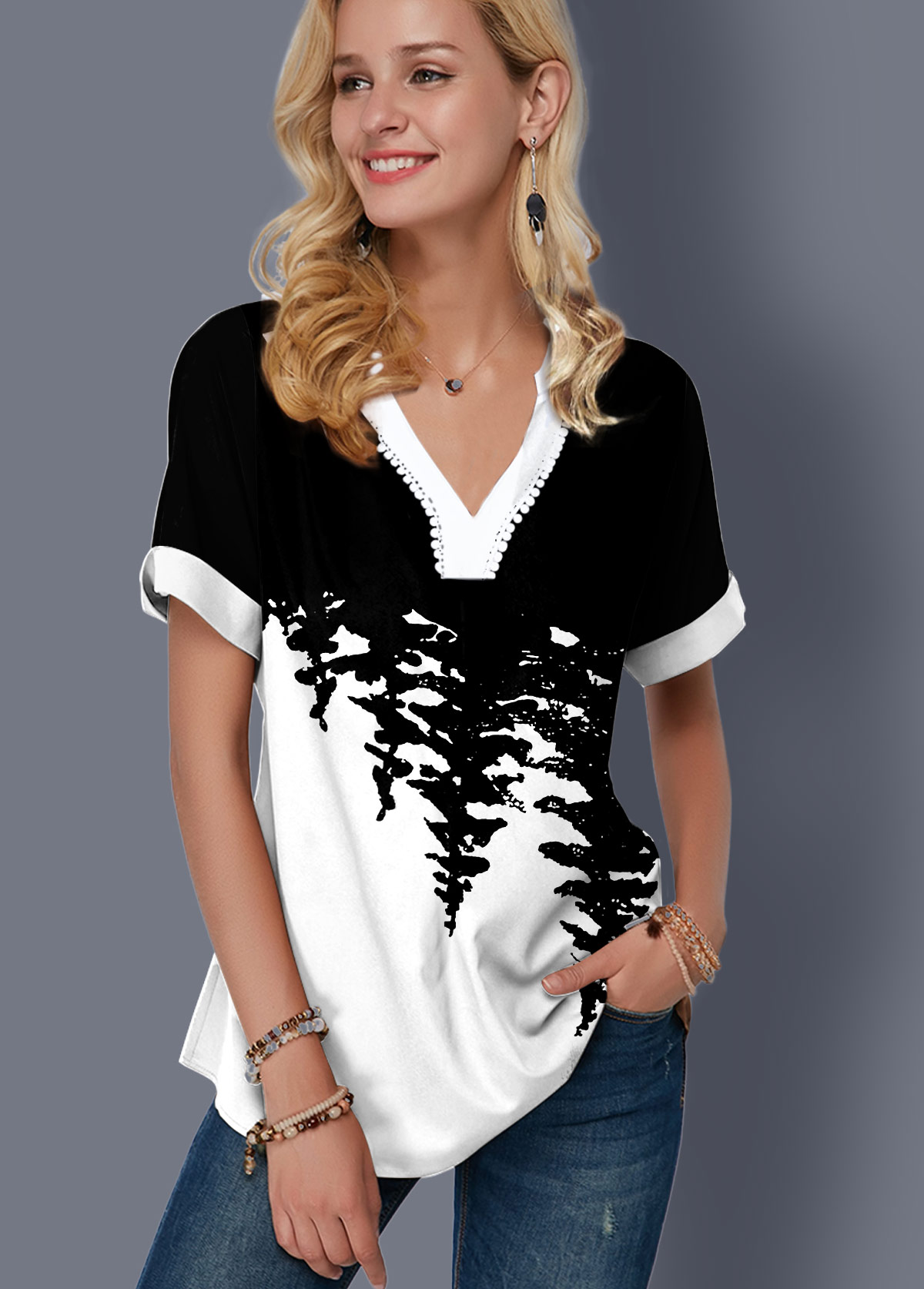 ROTITA Printed Color Block Split Neck Blouse