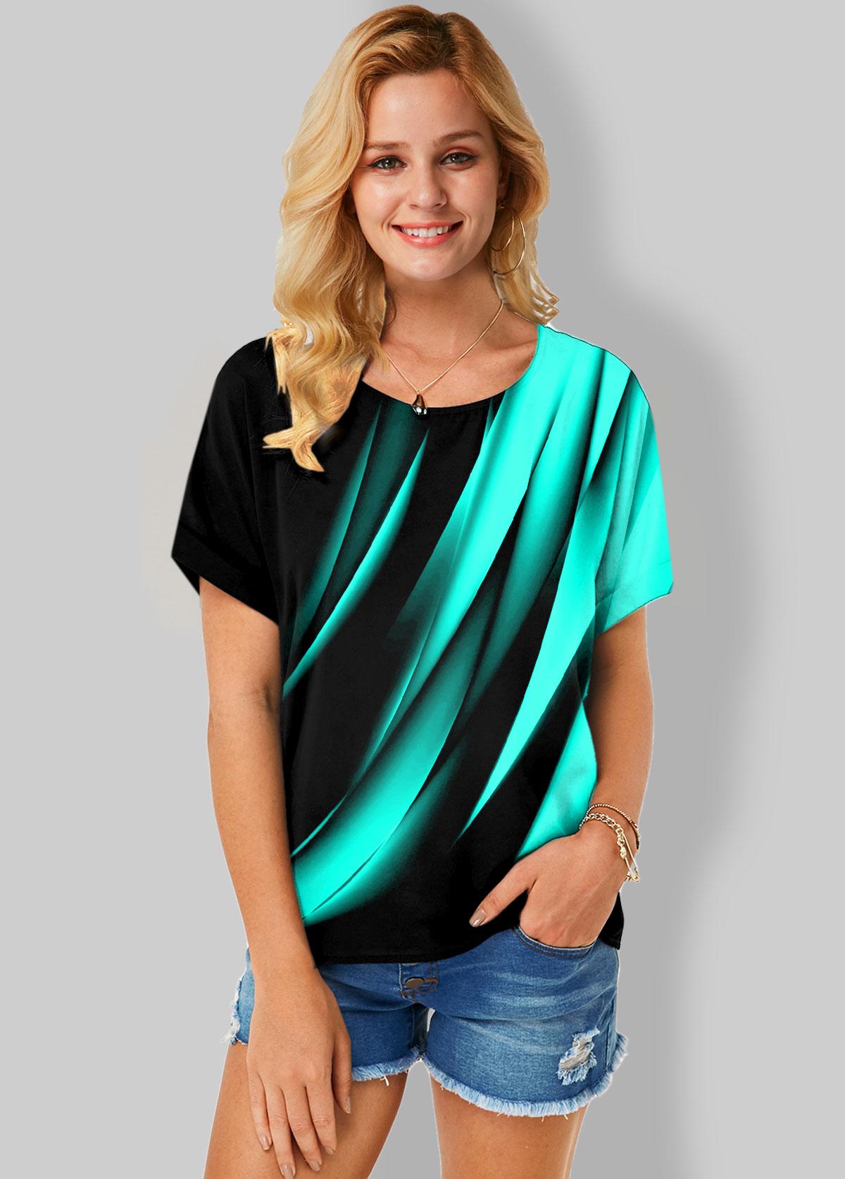 ROTITA Printed Short Sleeve Round Neck T Shirt