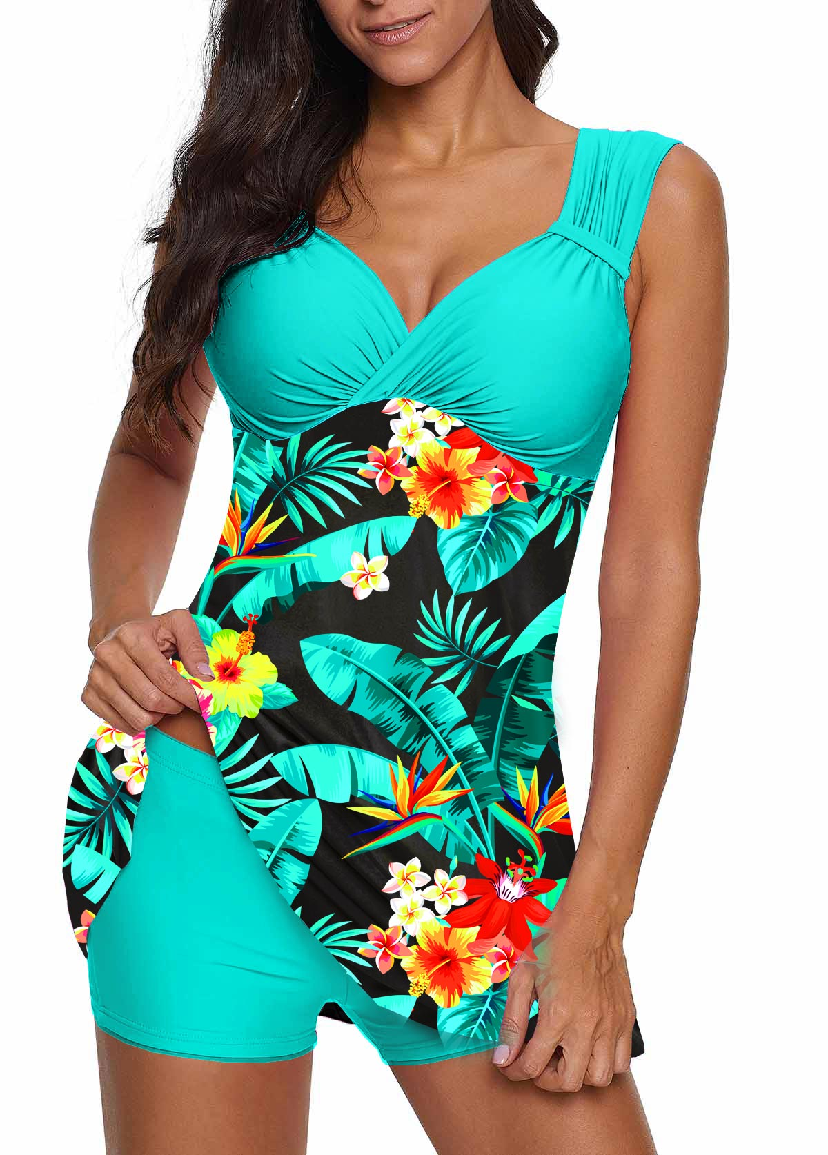 ROTITA Wide Strap Tropical Print Swimdress and Shorts