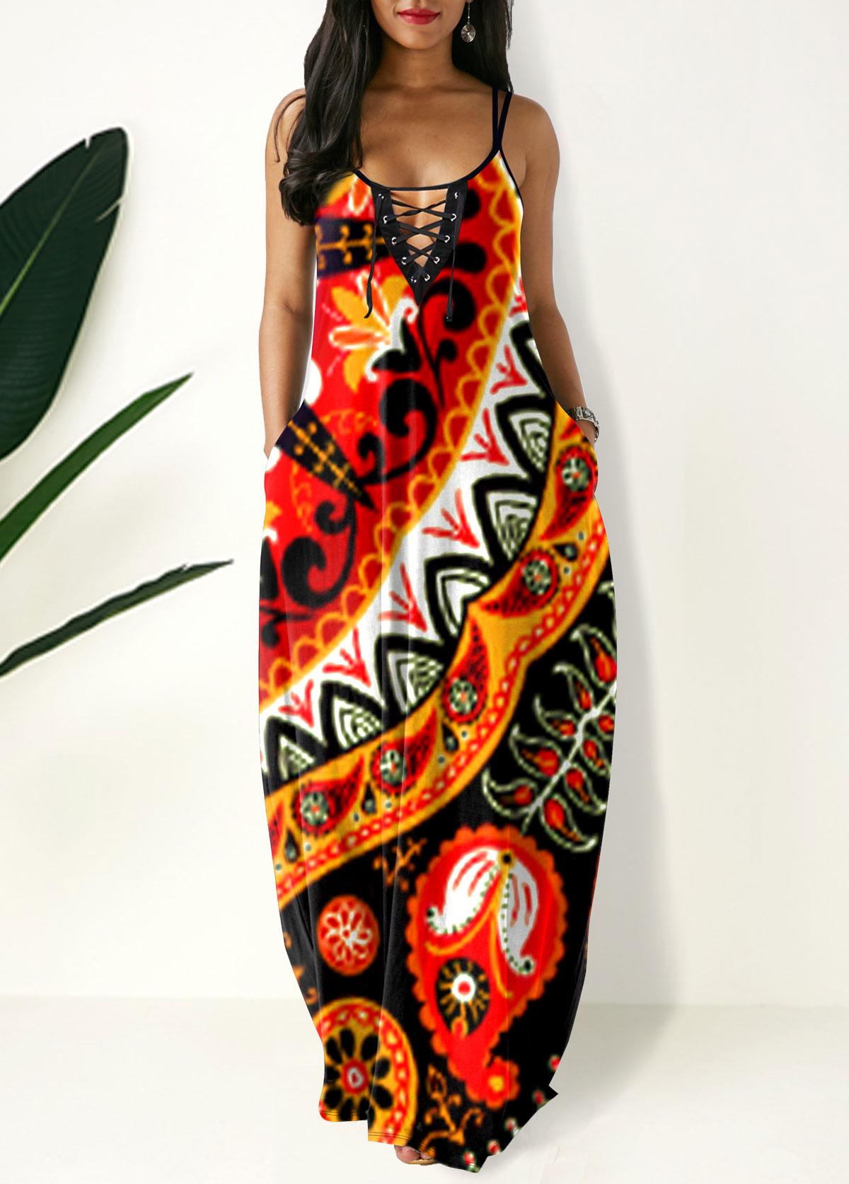 ROTITA Spaghetti Strap Tribal Print Side Pocket Maxi Dress