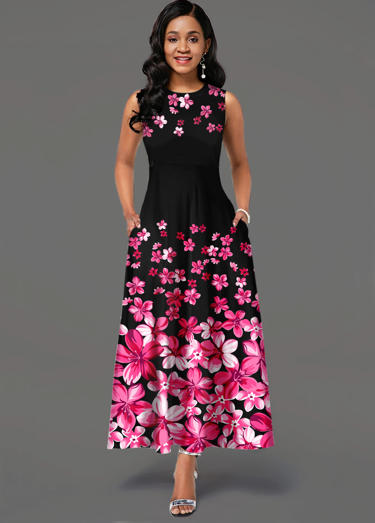 ROTITA Floral Print Sleeveless Side Pocket Maxi Dress