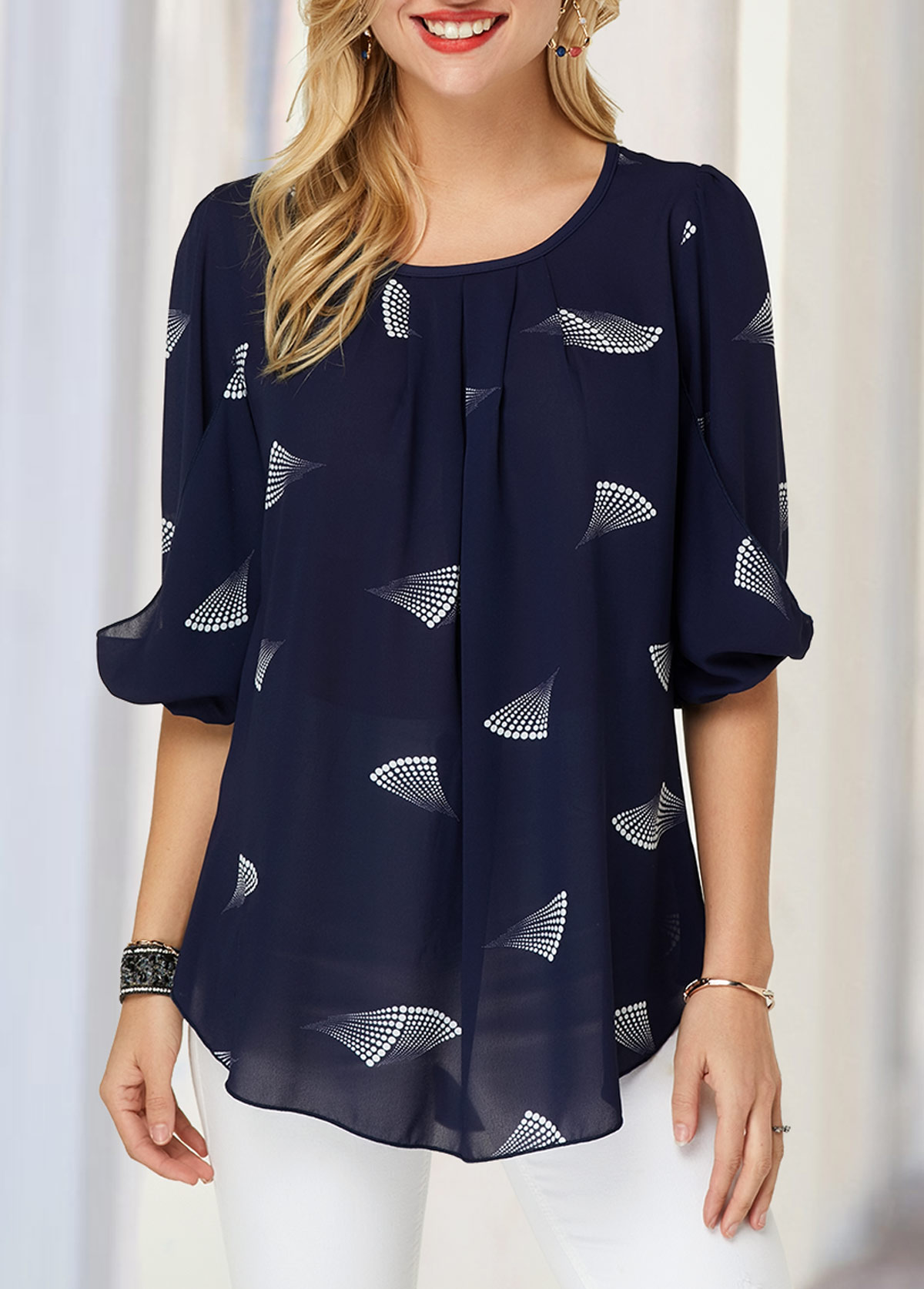 ROTITA Blouson Sleeve Printed Navy Blue Blouse