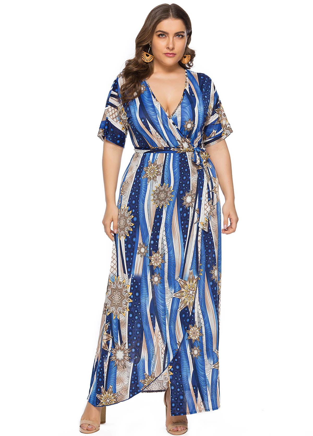 Plus Size Plunging Neck Printed Maxi Dress