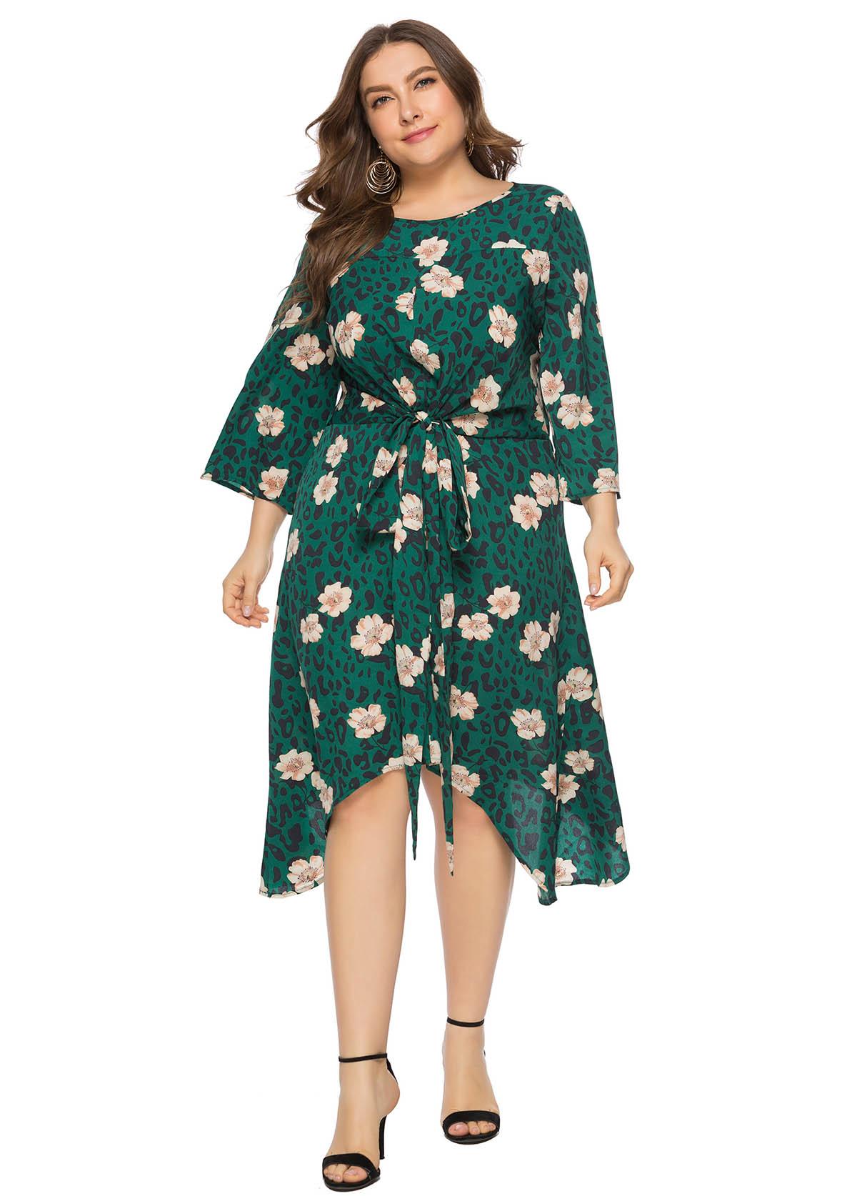 Plus Size Tulip Hem Floral Print Dress