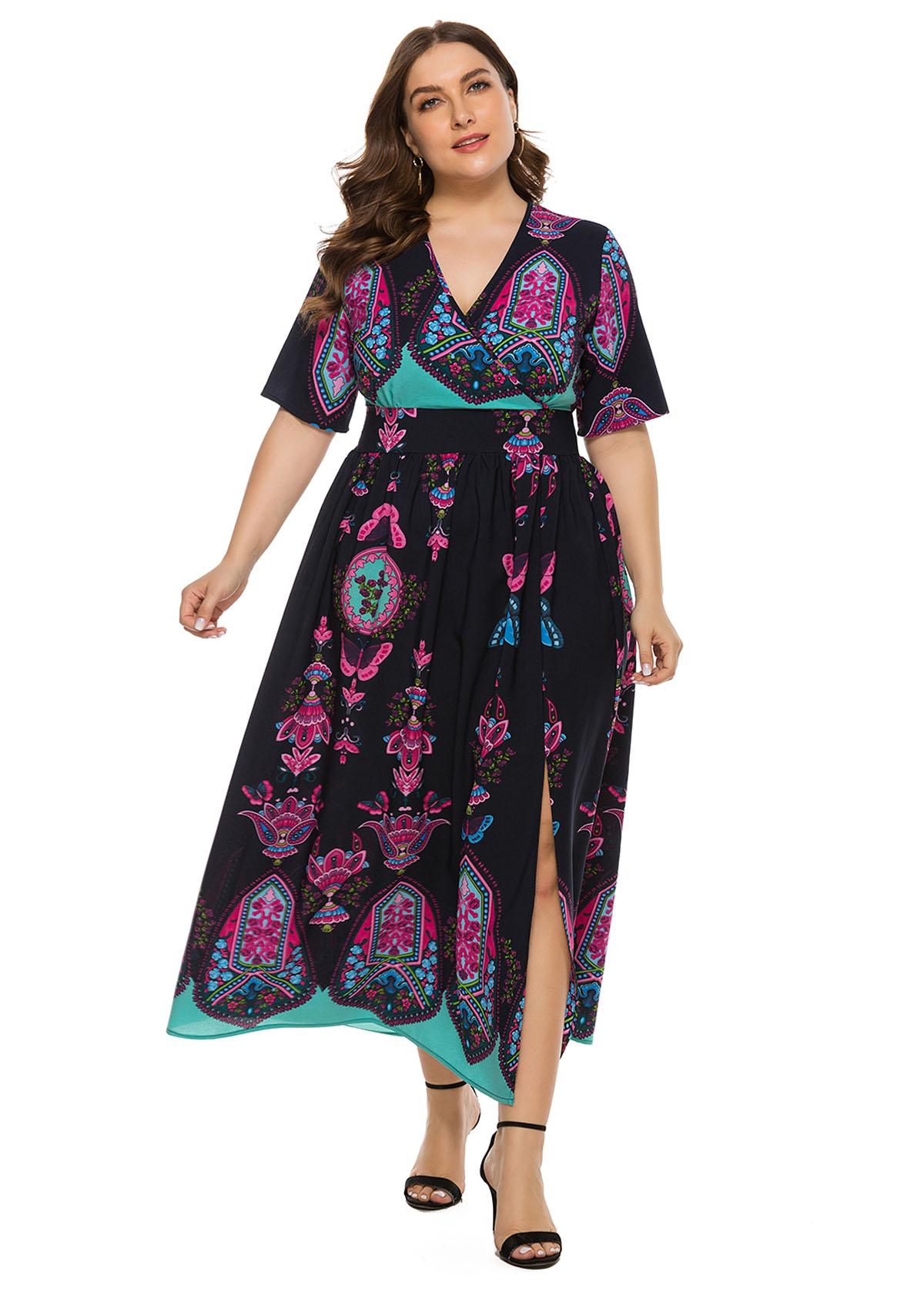 Plus Size Keyhole Back Bohemian Print Maxi Dress