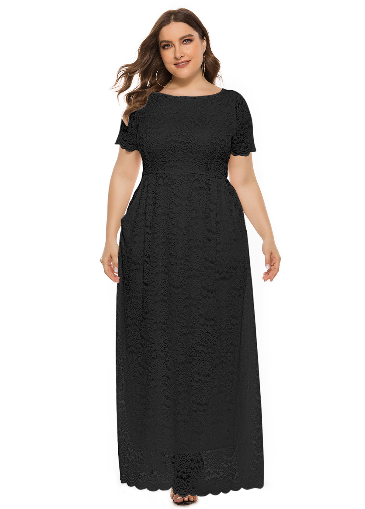 Plus Size Lace Side Pocket Maxi Dress