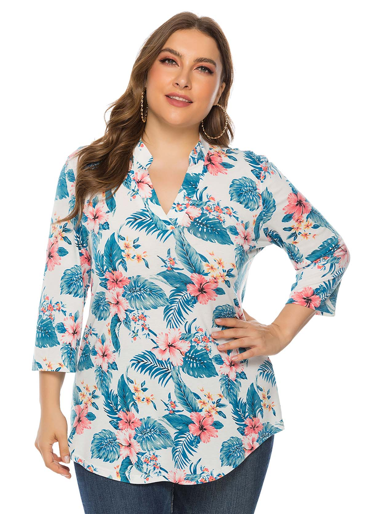 Plus Size Three Quarter Sleeve Floral Print T Shirt