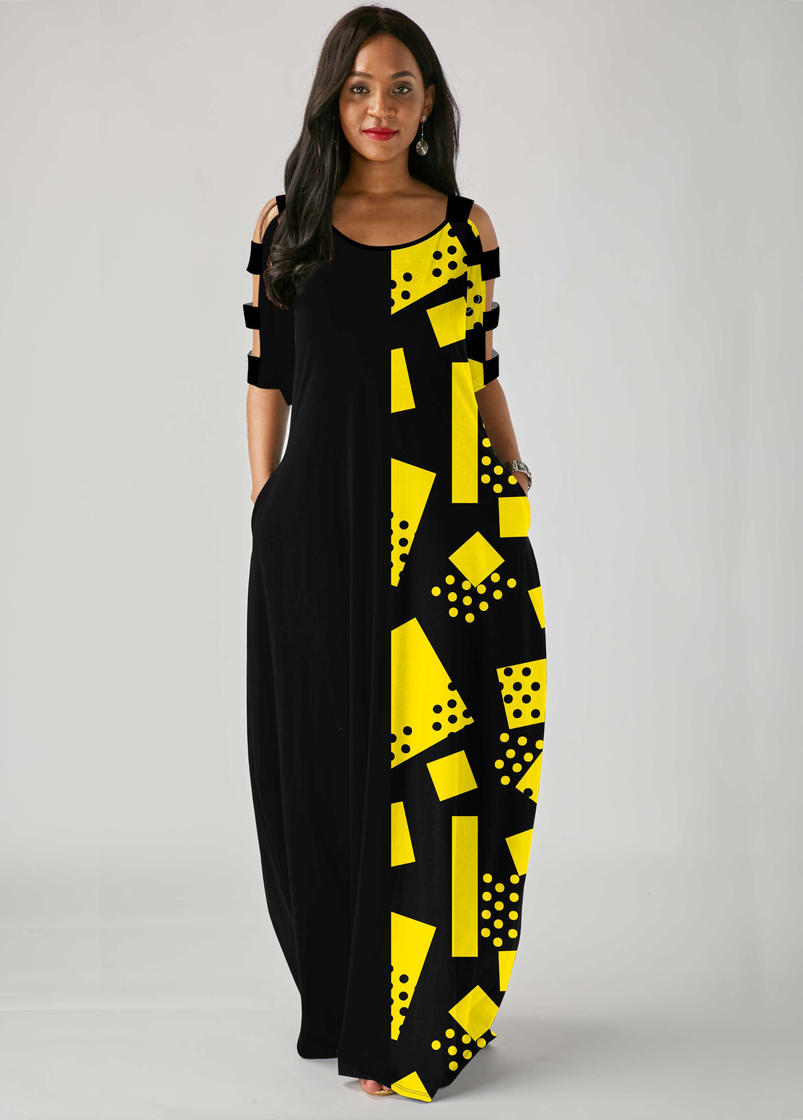 ROTITA Ladder Cutout Sleeve Geometric Print Side Pocket Maxi Dress
