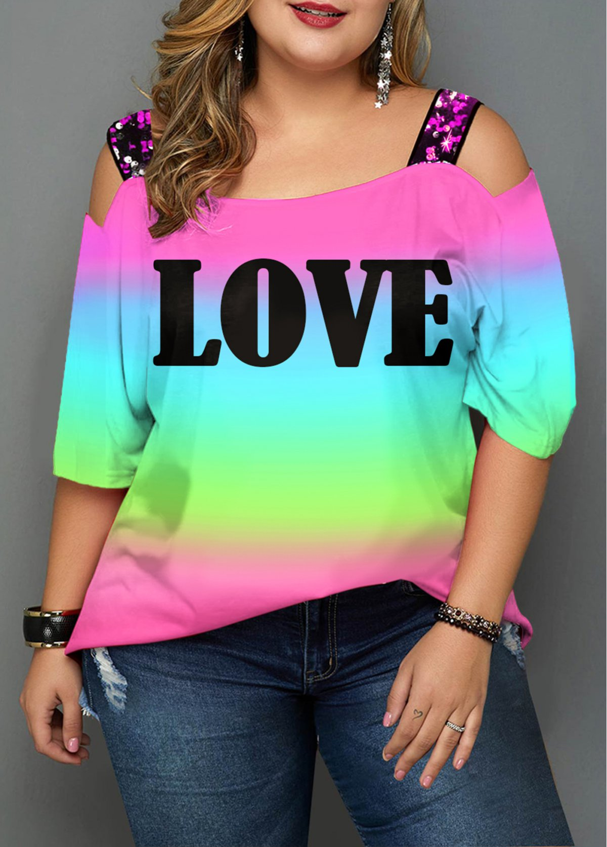 ROTITA Plus Size Strappy Cold Shoulder Rainbow Color T Shirt