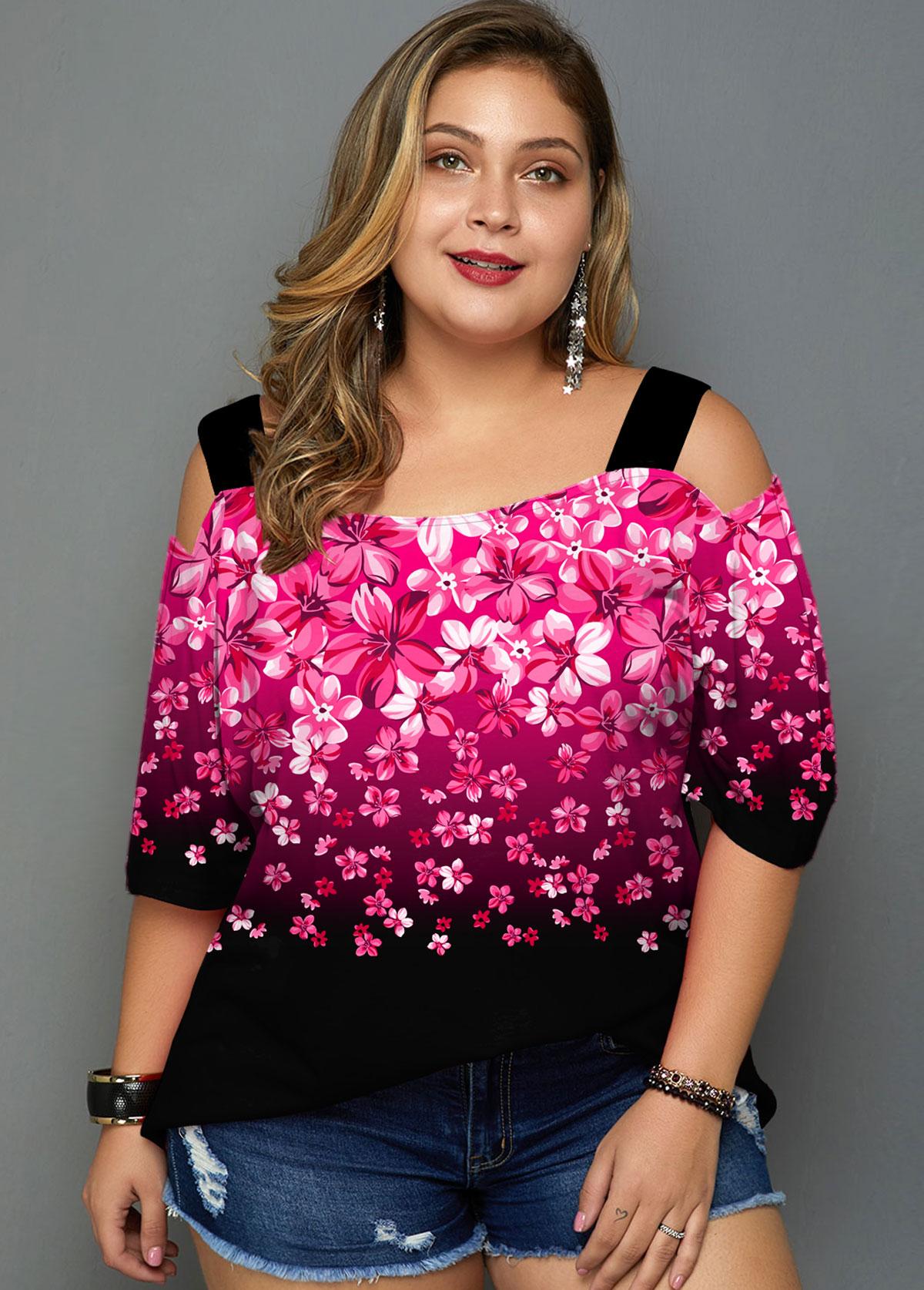 ROTITA Plus Size Cold Shoulder Floral Print Gradient T Shirt