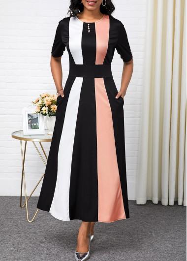 Rotita / ROTITA High Waist Color Block Button Detail Maxi Dress
