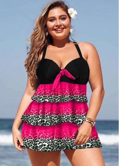 ROTITA Plus Size Layered Hem Leopard Print Swimwear Top | Rotita.com - USD  $25.03