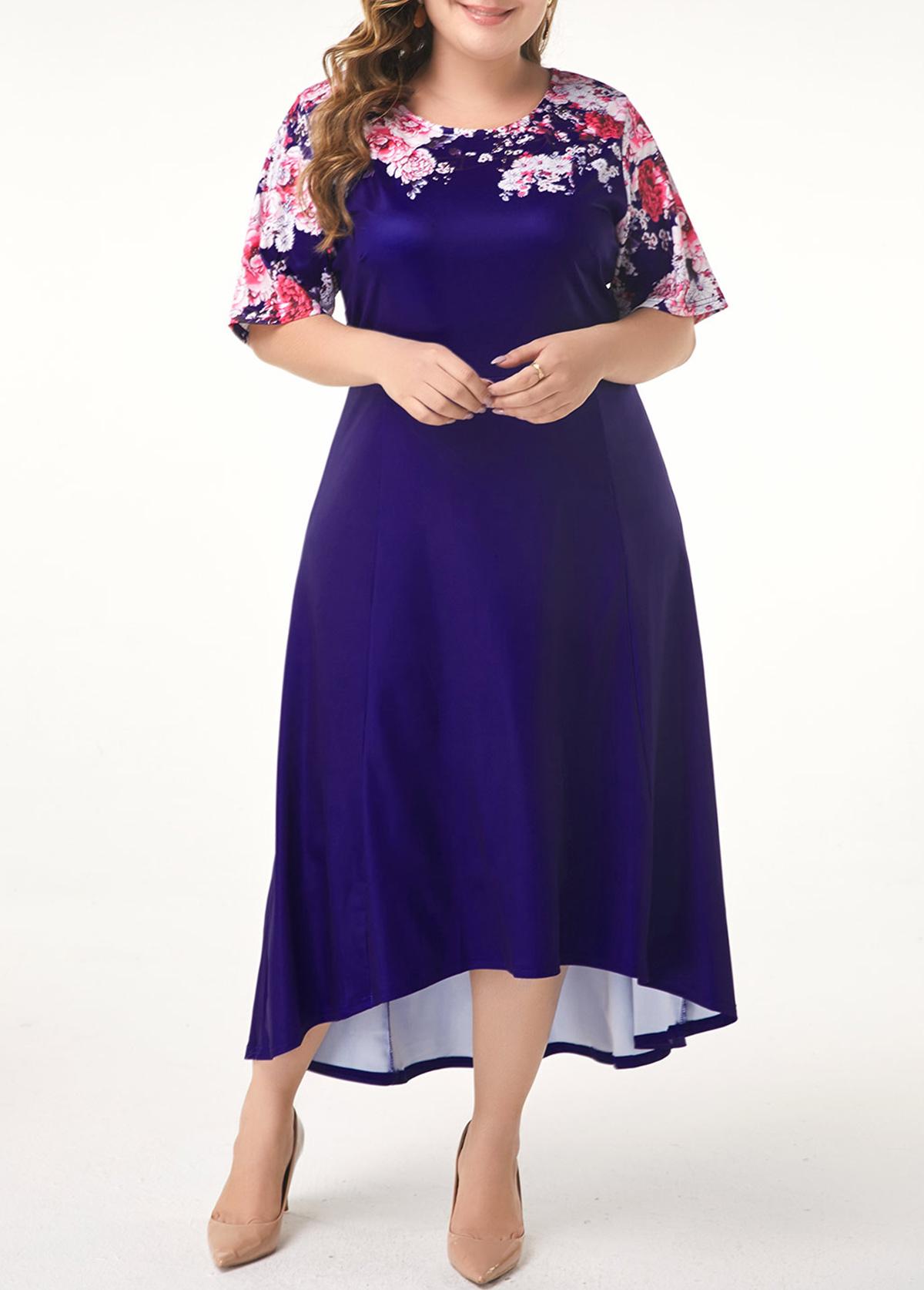 ROTITA Plus Size Dip Hem Flower Print Dress