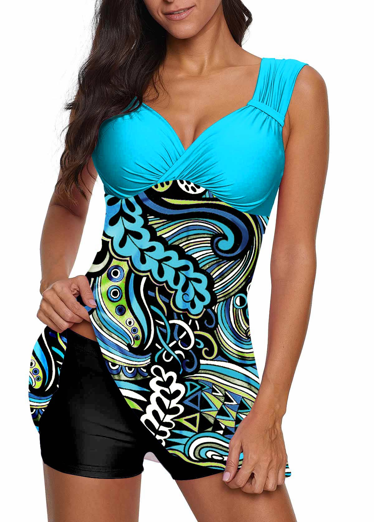 ROTITA Paisley Print Wide Strap Swimdress and Shorts