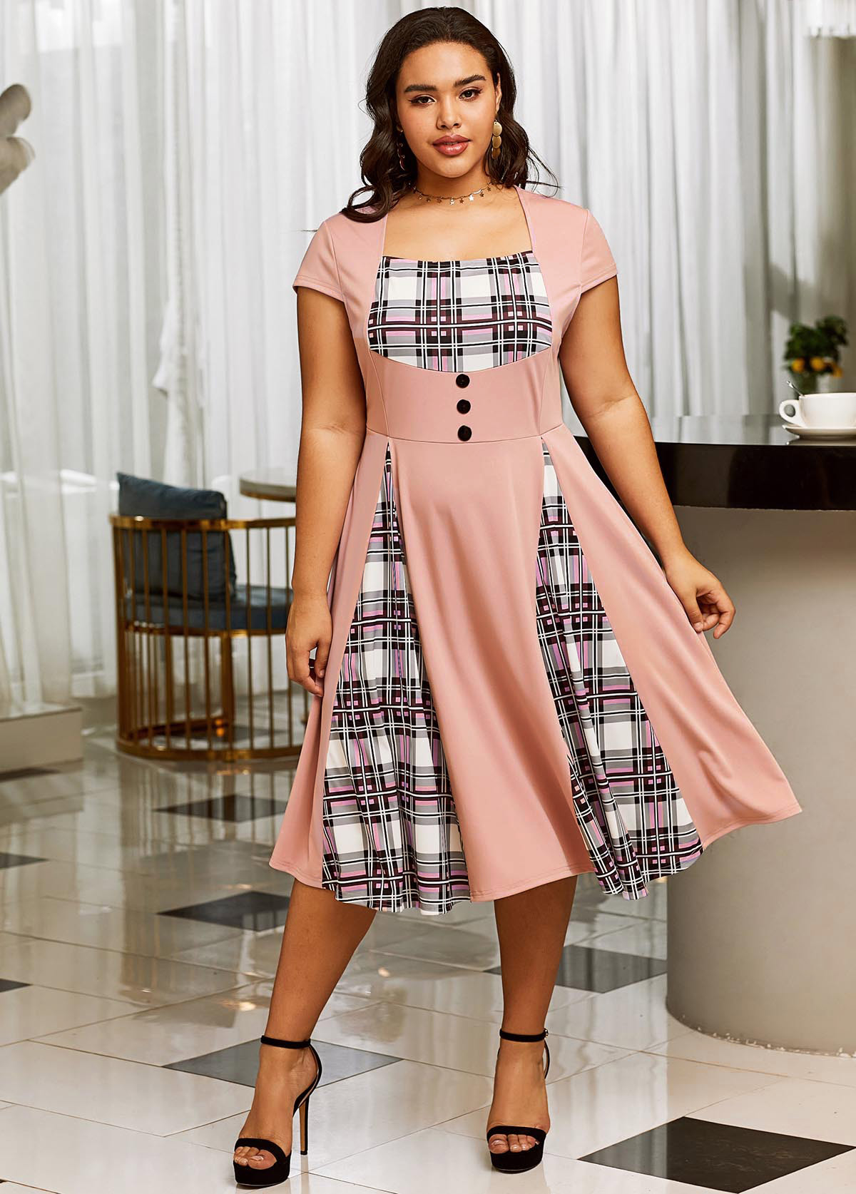 ROTITA Short Sleeve Plaid Plus Size Dress