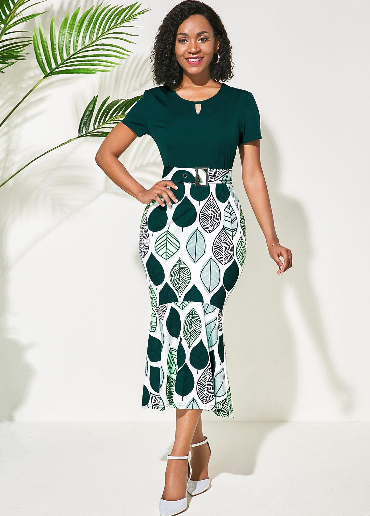 Green Round Neck Flower Print Dress