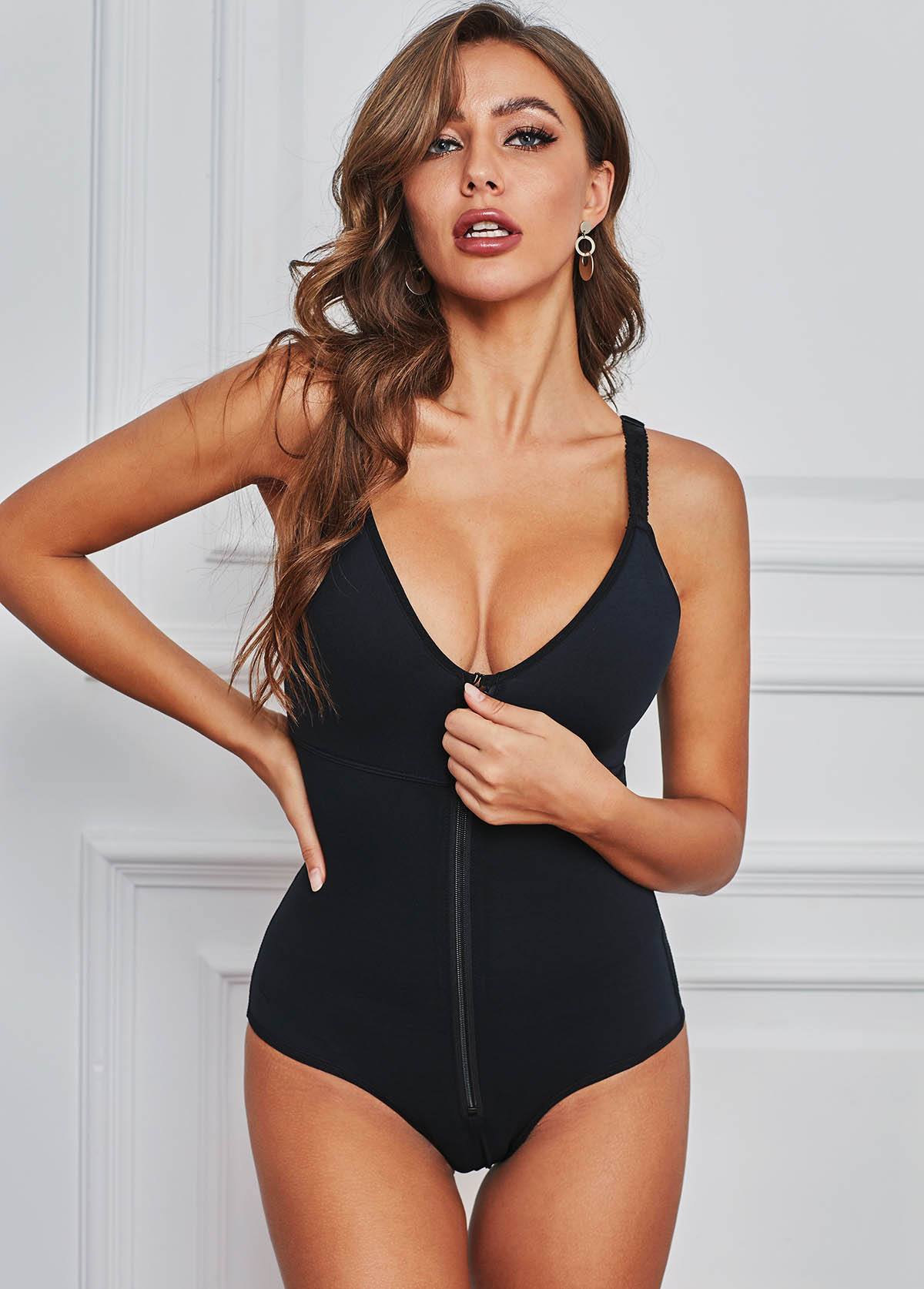 Zipper Closure Spaghetti Strap Black Bodysuit