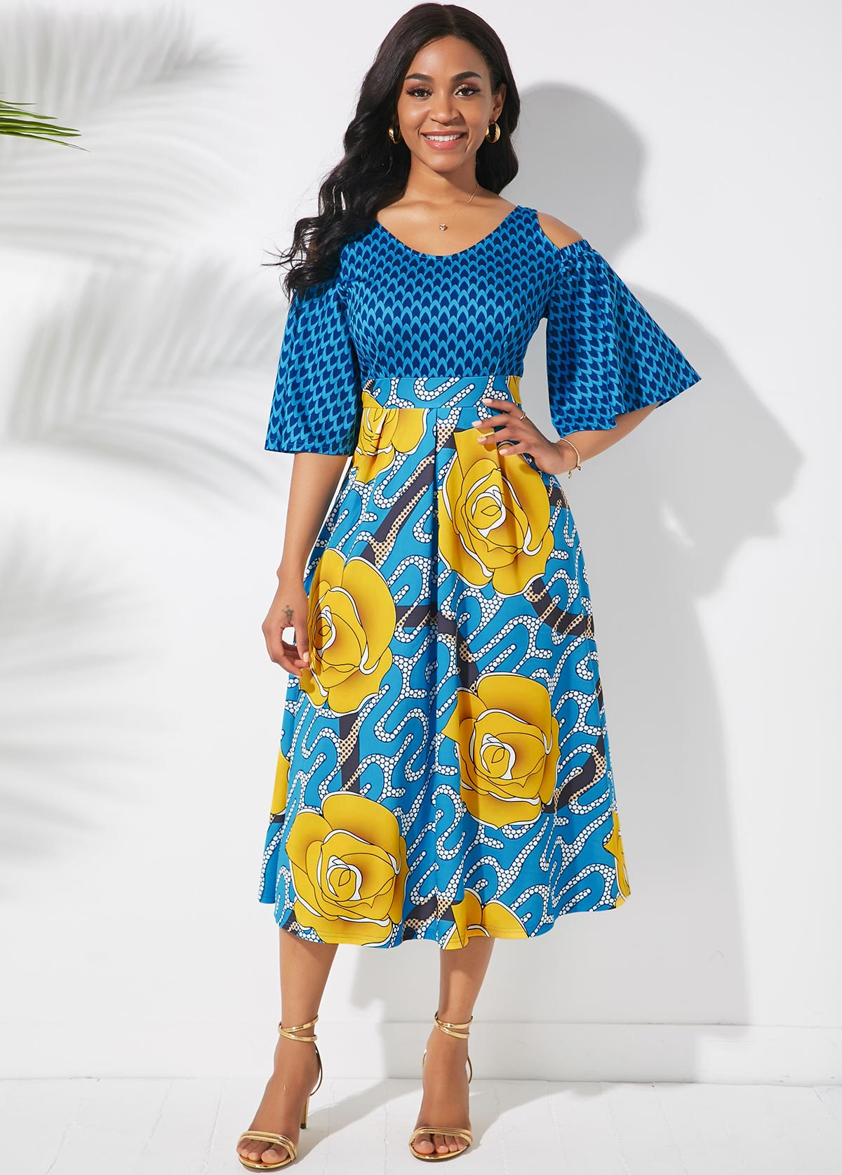 ROTITA Butterfly Sleeve Printed Cold Shoulder Dress